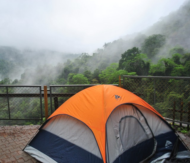 Really nice place to camp, One side Dudhsagar falls view other side mist covered mountains