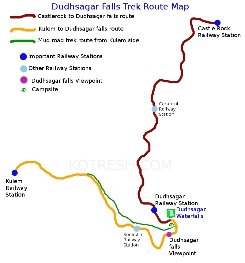 Dudhsagar falls trek route map