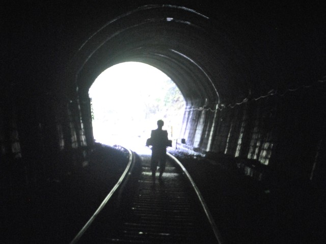 Tunnel during Dudhsagar trek