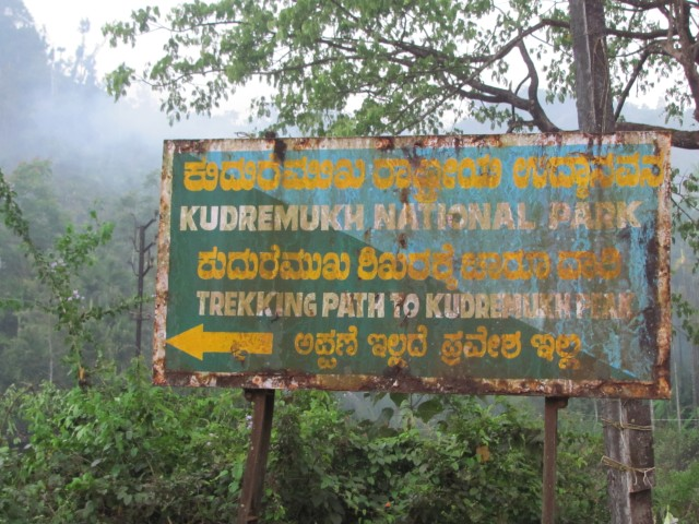 Kudremukh Trek: Information board at Balegal. (From here jeep track starts)