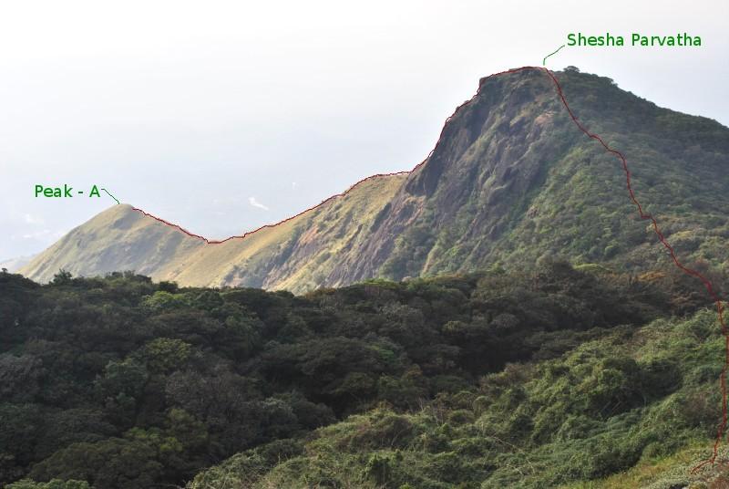 Trek route from Peak-A to Kumara Parvatha Peak