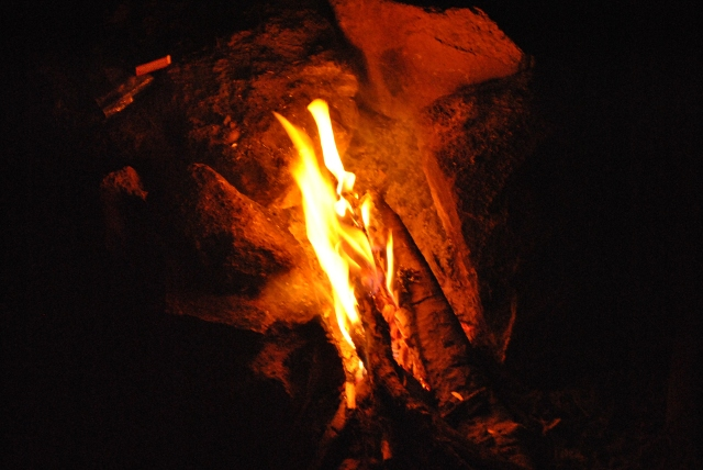 Campfire during night